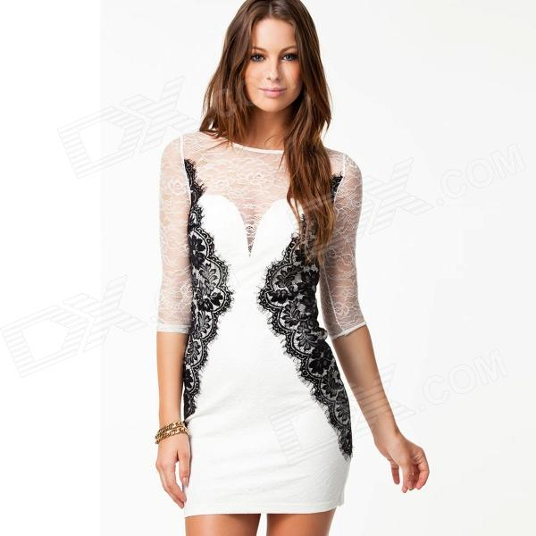 947df808193c LC829896 Fashion Long Sleeve Beauty Lace Bodycon Dress for Women ...
