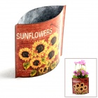 Mini Pastoral Style Iron Art Flowerpot w/ Sunflower Sticker - Red + Yellow + Multi-color