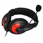 Feinier FE-925 3.5mm Plug Stereo Headset w/ Microphone - Black + Red (183cm)
