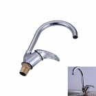 S8026C Contemporary Brass One Handle One Hole Hot Cold Water Kitchen Sink Faucet - Silver