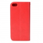 Protective Flip Open PU + TPU Case w/ Card Slots / Strap for IPHONE 5 / 5S - Red