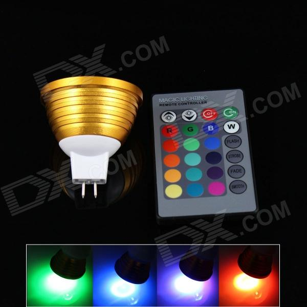 MR16 3W 200lm LED RGB Spotlight w/ Remote Controller - Golden (12V)MR16<br>Form  ColorGoldenColor BINRGBModelK16MaterialAluminum alloyQuantity1 DX.PCM.Model.AttributeModel.UnitPower3WRated VoltageOthers,12 DX.PCM.Model.AttributeModel.UnitConnector TypeMR16Emitter TypeLEDTotal Emitters1Chip BrandEpistarChip TypeLEDActual Lumens250 DX.PCM.Model.AttributeModel.UnitTheoretical Lumens200 DX.PCM.Model.AttributeModel.UnitColor Temperature12000K,Others,N/ADimmableNoBeam Angle180 DX.PCM.Model.AttributeModel.UnitWavelengthRed 635nm / Blue 465-475nm / Green 515~520nmPacking List1 x RGB spotlight 1 x Remote controller (1 x CR2025 battery, included)<br>