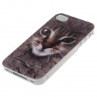 Animal Series Cute Cat Style Phone Case Cover for IPHONE 4 / 4s - Gray Brown