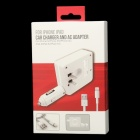 PG-5058 Car Charger and AC Adapter for IPHONE 5 / 5S / 5C / IPAD / Samsung / HTC - White