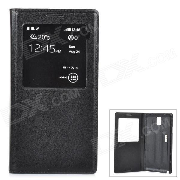 Protective Flip Open Case w/ Display Window / Chip for Samsung Note 3 - Black