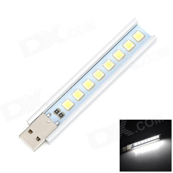 1.2W 70lm USB Powered Super Mini 8 LED White Light Emergency Lamp - Silver + Yellow (5V)