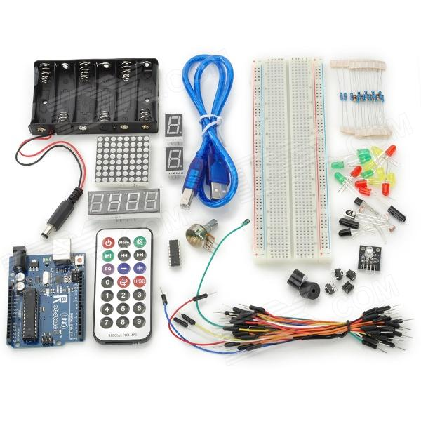 DIY Basic Starter Kit for Arduino - Deep Blue + MulticoloredKits<br>BrandN/AModelN/AQuantity1 DX.PCM.Model.AttributeModel.UnitForm ColorOthersMaterialFR4+ABSEnglish Manual / SpecNoDownload Link   Routine and code: http://arduino.cc/en/Tutorial/HomePageOther FeaturesRemote control use one CR2025 battery, included.Packing List1 x Uno R3 board1 x 830 holes Breadboard1 x Packaging box5 x LED lights (red)5 x LED lights (yellow)5 x LED lights (green)8 x Resistor 220 Ohms5 x Resistor 1K 5 x Resistor 10K1 x Buzzer1 x Passive Buzzer4 x Key switches2 x  Digital tubes1 x 6 5 battery box1 x 4 digital tube2 x Ball switch 3 x Photoresistor 1 x Adjustable resistance1 x Flame sensor 1 x Infrared receiver 1 x LM35 temp sensor 1 x 74H595 1 x RGB module 1 x 8 * 8 dot matrix1 x USB Cable30 x Colorful bread Lines 1 x Mini remote control<br>