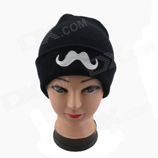 Cool Moustache Pattern Knitting Hat Black White Free Shipping