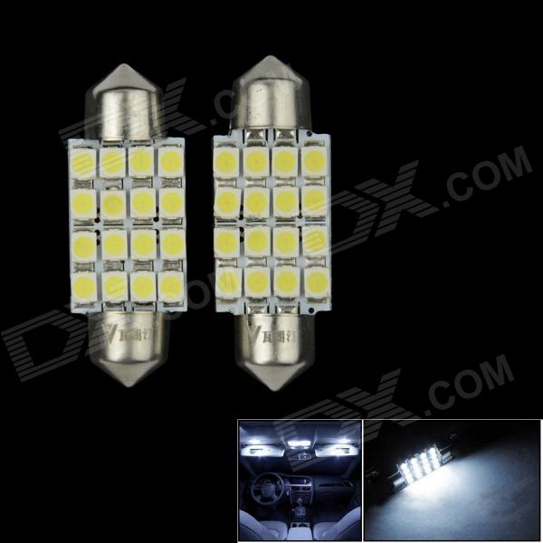 WaLangTing Festoon 39mm 5W 450lm 16 x SMD 1210 LED White Car Dome Light - (12V / 2 PCS)