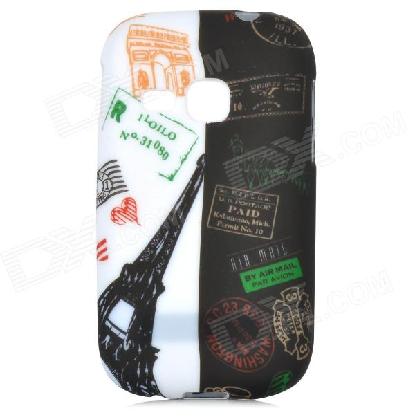 Graffiti Style Building Pattern Back Case for Samsung Galaxy Young S6310 / S6312 - White + Black