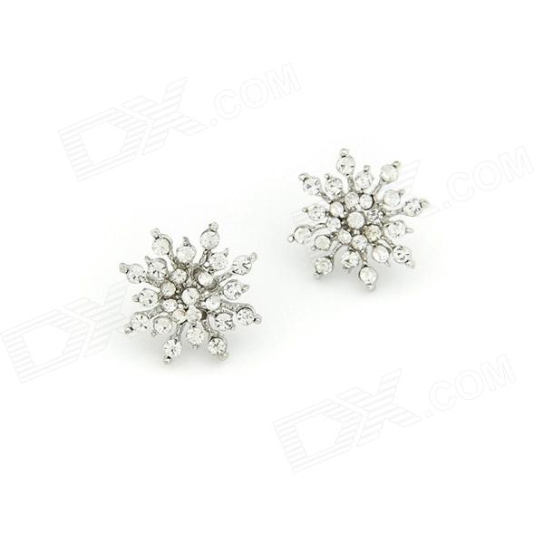 Fashionable Snowflake Zinc Alloy + Rhinestone Characteristic Women's Earrings - Silver White (Pair)