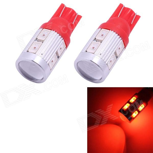T10 5W 450lm 10-SMD 5630 LED Red Light Car Clearance / Signal Lamps (DC 12V / 2 PCS)Tail Lights<br>Color BINRedBrandN/AModelT10-5630-10smdQuantity1 DX.PCM.Model.AttributeModel.UnitMaterialAluminumForm  ColorOthers,Red + silverEmitter TypeOthers,5630 SMD LEDChip BrandOthers,5630 SMD LEDChip Type5630 SMD LEDTotal Emitters10Power5WWavelength630~660 DX.PCM.Model.AttributeModel.UnitTheoretical Lumens450 DX.PCM.Model.AttributeModel.UnitActual Lumens350 DX.PCM.Model.AttributeModel.UnitRate Voltage12VWaterproof FunctionNoConnector TypeT10ApplicationSteering light,Clearance lamp,Instrument lamp,Signal light,Indicator lampPacking List2 x Car lights<br>