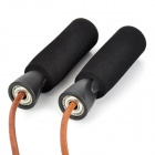 Sesit Sports PP + EVA + Cow Leather Jumping / Skipping Rope - Black + Dark Brown (2.75m)