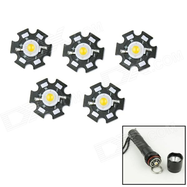 WaLangTing 1W / 2W / 3W 220lm 3500K LED Warm White Round Aluminum Plate Lamp Beads (3~4V / 5 PCS)