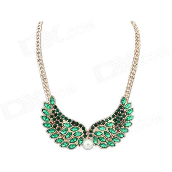 Fashionable Wing Style Crystal Necklace - Golden + Green