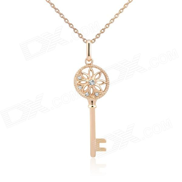 KCCHSTAR 18K Gold Plating Zinc Alloy Lover's Key Necklace w/ Artificial Diamond Pendant - Golden