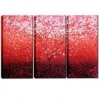 Iarts DX0109-04 Handmade Red color Tree Landscape Oil Painting - Multicolored