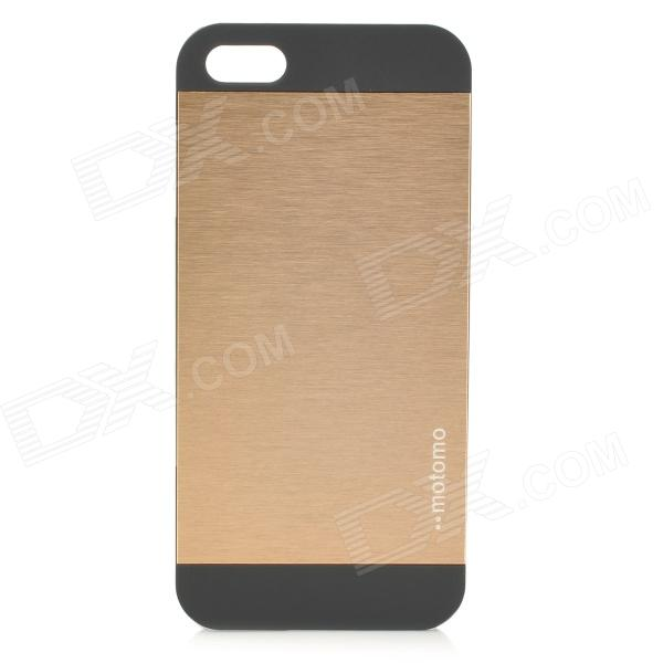 Protective Brushed Metal + Frosted PC Back Case for IPHONE 5 / 5S - Golden + Black