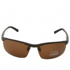 OUMILY Men's UV 400 Protection Polarized Tawny Lens Sunglasses -Brown
