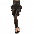 Sexy High Waist Hollow Out Ruffled Sexy Legging - Black