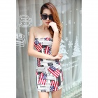 YLY-DXH719-8742-Newspaper-Pattern-Sexy-Wrapped-Chest-Dress-White-2b-Red-2b-Multi-Colored-(Size-L)