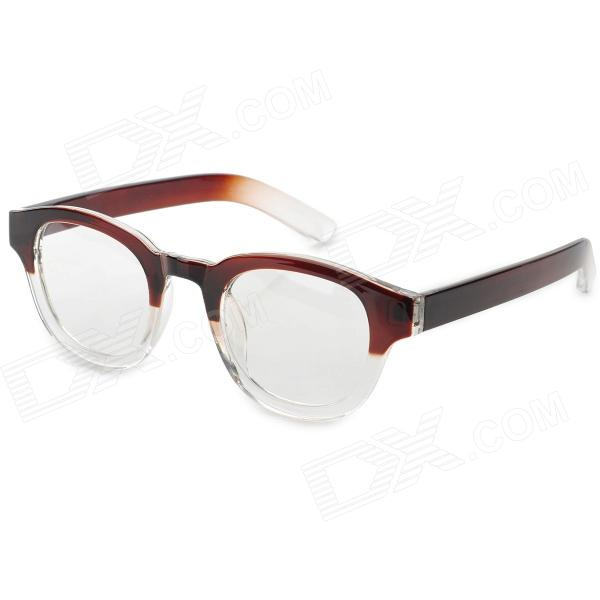 Y3-3359 Stylish Gradient Frame w/ Plain Glass Glasses - Rufous