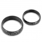 SHIYING JZ090 Stylish Geometrical Pattern 316L Stainless Steel Couple's Ring - Black + Silver