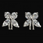 QIAOJ ME-01 Butterfly Style Platinum-Plated Silver Stud Earrings - Silvery White (Pair)