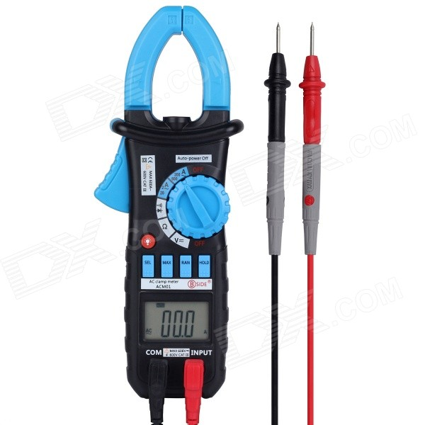 BSIDE ACM01 Auto Range Digital AC Clamp Meter w/ Backlight / Clamp Light - Black + BlueMultimeters<br>Form  ColorBlue + BlackBrandBSIDEModelACM01Quantity1 DX.PCM.Model.AttributeModel.UnitMaterialIron + brass + ABSScreen Size3.4 x 2.4 DX.PCM.Model.AttributeModel.UnitMax. Display2000DC Voltage200mV/2V/20V/200V ±(0.8%+2)<br>600V±(1.0%+2)AC Voltage2V/20V/200V±(1.0%+5)<br>600V ±(1.2%+5)AC Current2A/20A/200A/600A±(3.0%+10)Resistance200/2k/20k/200k/2M/20 M±(1.2%+2)Transistor TestNoTemperature TestNoFrequency TestNoPower Consumption TestNoShort-Circuit ProtectionYesShort Curcuit BuzzYesAuto Power OffYesPowered ByAAA BatteryBattery Number3Battery included or notYesOther FeaturesAuto and manual range; Data hold; Two times of injection molding; calmp work light; MAX/MIN; Back Light; Diod TestCertificationCE, CAT.III600VPacking List1 x ACM011 x Test probes (Length: 94cm)3 x 1.5V AAA batteries1 x English user manul1 x Bag<br>