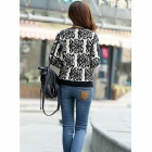 czc K2012 Blue And White Porcelain Cardigan Knit - Black + White