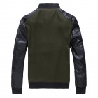 Men's Fashion PU Leather Blended Zippered Coat - Black + Army Green (Size-XL)