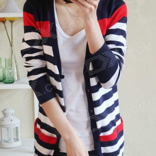 CZC 1053 Contrast Color Striped Loose Knitted Cardigan - Navy + White