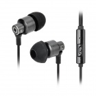 818 3.5mm Jack In-Ear Style Hands-free Earphone w/ Microphone for IPHONE - Black + Iron Grey (120cm)