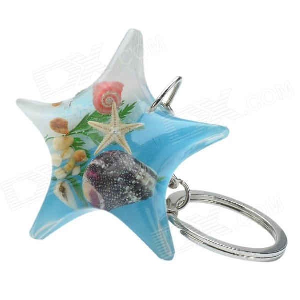 Starfish Style Aquatic Shell Acrylic Stainless Steel Keychain - Blue + White