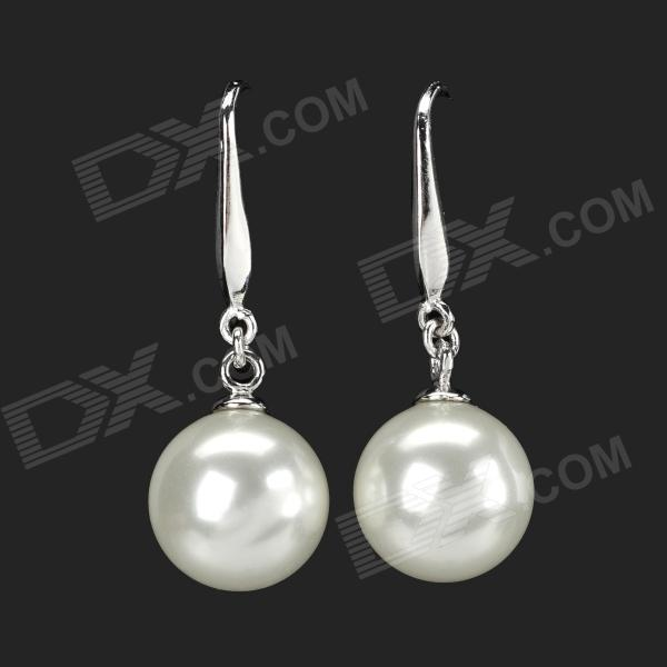 Elegant Pearl Plating Silver Earrings for Women - Silver + Pearl White (Pair)