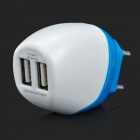 AC Charging Adapter w/ Dual USB Output for IPHONE / IPAD - White+Blue