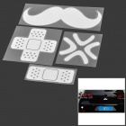 DIY 4-in-1 Band-Aid + Mustache + Angry Style Car Reflective Stickers Set - Silver White