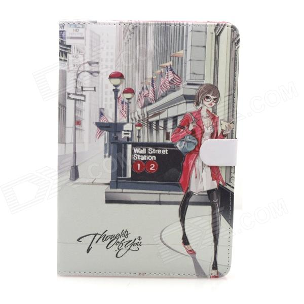 Cute Series Protective PU Leather Case Cover Stand w/ Auto Sleep for IPAD AIR - Grey + Red