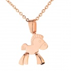 WS001 Fashionable 316L Stainless Steel Necklace w/ Little Horse Pendant - Light gold