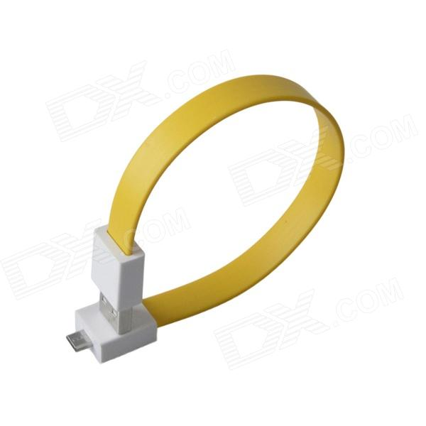 Bracelet Style Magnetic Micro USB Male o USB Male Data Charging Flat Cable - Yellow (24cm)