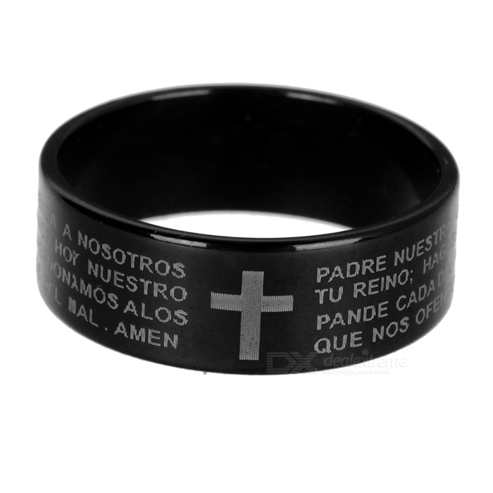 Buy Titanium Steel Finger Ring for Men - Black + White with Litecoins with Free Shipping on Gipsybee.com