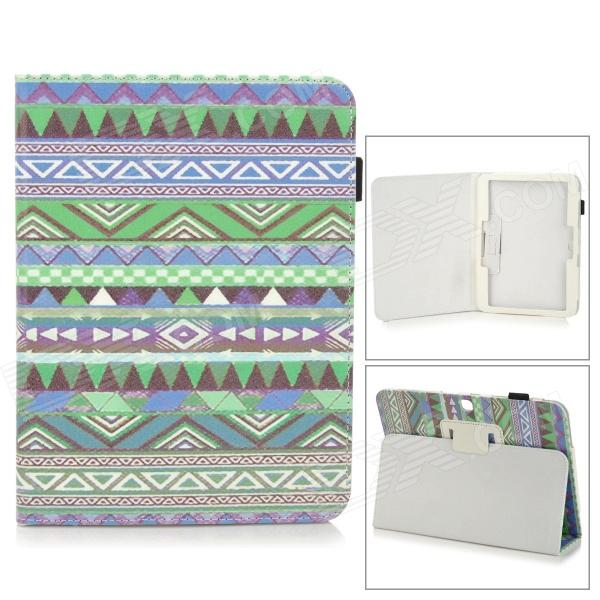 Stylish Protective PU Leather Case for Samsung Galaxy Tab 3 10.1 P5200 - Green + Blue + Multicolor