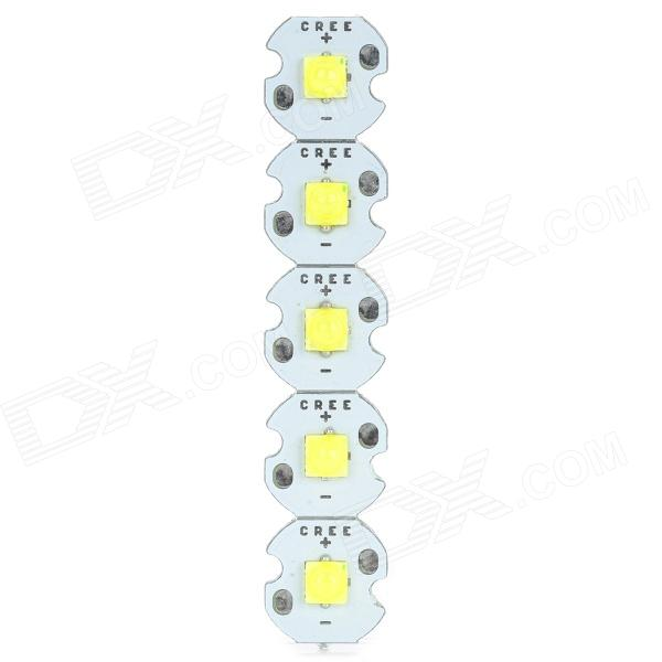 DPT-XP-3535-W 3W 70lm Cold White Light LED Bead (3.2~3.6V, 5PCS, 12mm)Leds<br>Form  ColorWhiteBrandN/AModelDPT-XP-3535-WMaterialAluminum alloyQuantity5 DX.PCM.Model.AttributeModel.UnitChip BrandEpistarChip TypeN/AEmitter TypeLEDPowerOthers,1Rated VoltageOthers,3.2-3.6 DX.PCM.Model.AttributeModel.UnitTheoretical Lumens90 DX.PCM.Model.AttributeModel.UnitActual Lumens50-70 DX.PCM.Model.AttributeModel.UnitCurrent300 DX.PCM.Model.AttributeModel.UnitTotal Emitters5Color BINCold White,WhiteColor Temperature12000K,Others,6000-6500KWorking Temperature-20-85 DX.PCM.Model.AttributeModel.UnitWavelengthNoBeam Angle120 DX.PCM.Model.AttributeModel.UnitLife Span30000 DX.PCM.Model.AttributeModel.UnitOther FeaturesIt is made of Epistar chip and CREE aluminum boardPower3 DX.PCM.Model.AttributeModel.UnitWorking Current300 DX.PCM.Model.AttributeModel.UnitDimmableNoPacking List5 x LED beads<br>