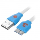 Smiley Micro USB 3.0 9Pin Charging / Data Flat Lighting Cable for Samsung Note 3 - White (100cm)