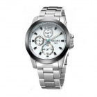 SKONE7063 Men's Fashionable Sports Quartz Watch - White + Silver