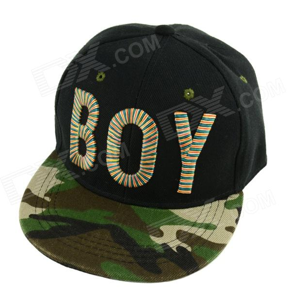 Simple BOY Letter Pattern Canvas Baseball Hat - Camouflage Green + Black