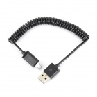 USB to Micro USB Data / Charging Spring Cable - Black (25cm)