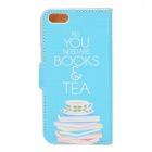Stylish Book & Coffee Pattern Flip-open PU Case w/ Holder + Card Slot for IPHONE 5 / 5S - Blue + Pin