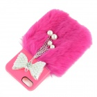 Fashion Bow-Knot Style ABS + Rabbit Hair Back Case for IPHONE 4 / 4S - Deep Pink