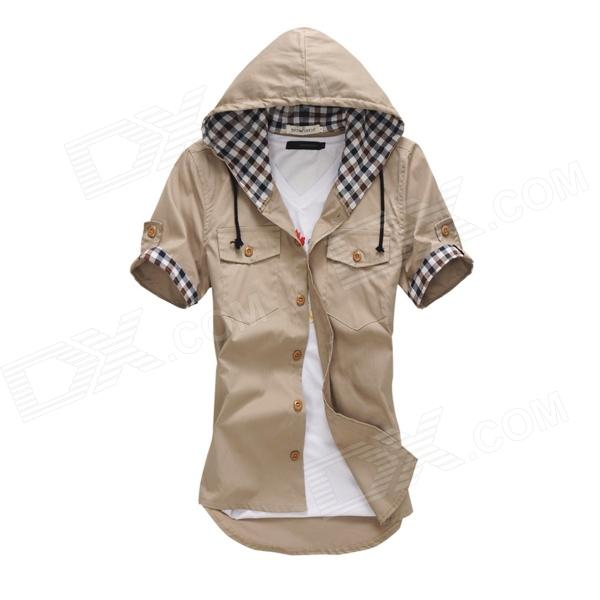 Hooded Plaid Decorative Short-sleeved Shirt - Khaki (XL)